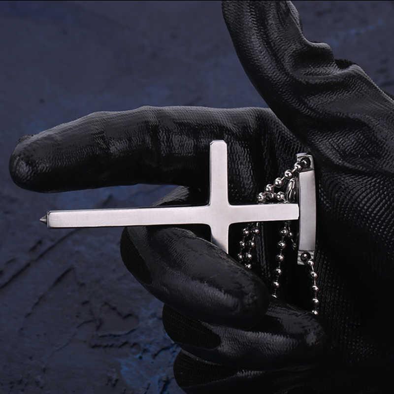 In Stock! Man's Accessories EDC Outdoor Self-defense Pectoral Cross Necklace Window Breaker Portable Tactical Women Anti-wolf