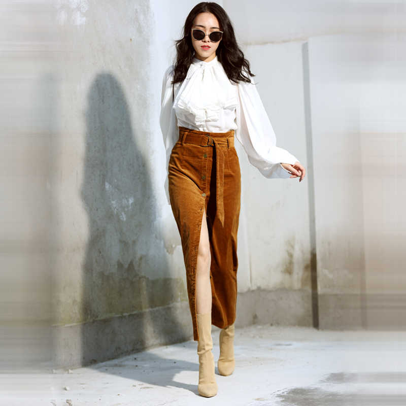 da2bf54b15 Free Shipping Fashion Long Maxi Stretch Corduroy High Waist Slim Hip  Straight Skirts For Women Single