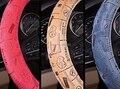 SWC069 pvc cubierta del volante del coche de impresión flcok with36/38 cm rojo cuero momo omp volante invierno calefacción para vw golf 6