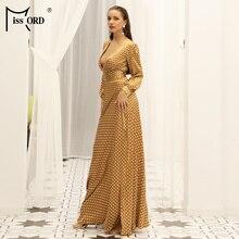 Missord 2019 Sexy Spring And Summer Deep-V Small  Dot split beach  Elegant Floor-Length Dress FT18443