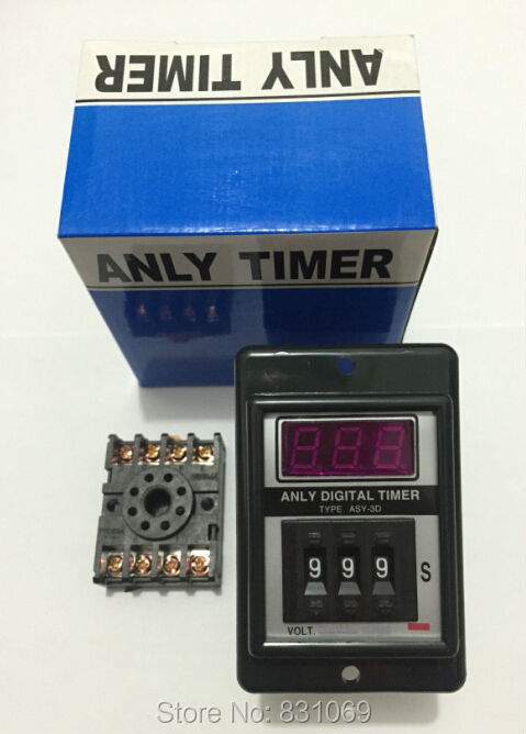 1Set ASY-3D AC220V Power ON Delay Timer Time Relay 1-999  Seconds & Base Brand New hhs6a correct time countdown intelligence number show time relay bring power failure memory ac220v