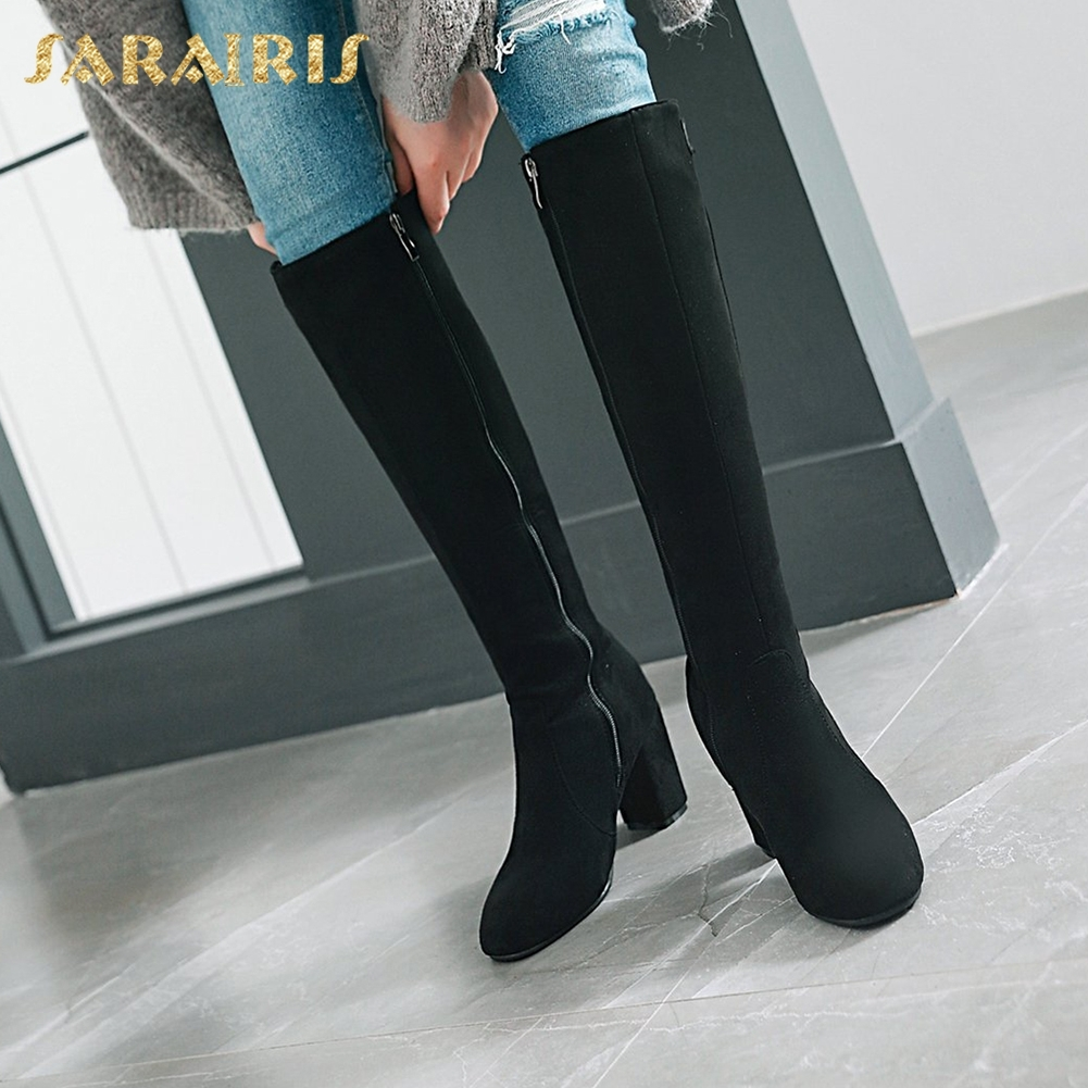SARAIRIS 2018 Plus Size 33-45 Winter Boots Women Shoes Chunky Heels Zip Up Solid Hot Sale Knee High Boots Shoes Woman все цены