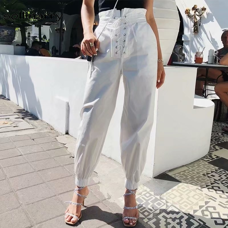 Sollinarry Lace Up High Waist Loose Long Pants Capris Women Solid White arem Pants Streetwear Casual Cargo pants Trousers