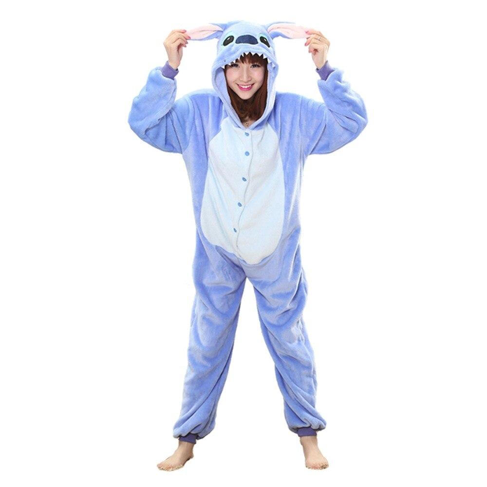 Blue stich christmas deer   Pajama     Sets   Cartoon Sleepwear Women   Pajama   Flannel Animal   Pajama   kigurumi animal sleepwear