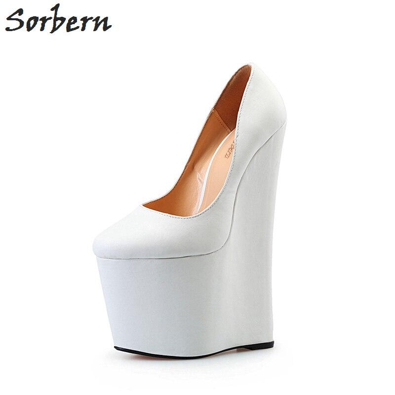 Sorbern White Wedged Shoe Extrem High Heels Wedge Heels Ladies Pump Thick Platform 22Cm Heels Unisex Shoes Red Bottom High Heel цена 2017