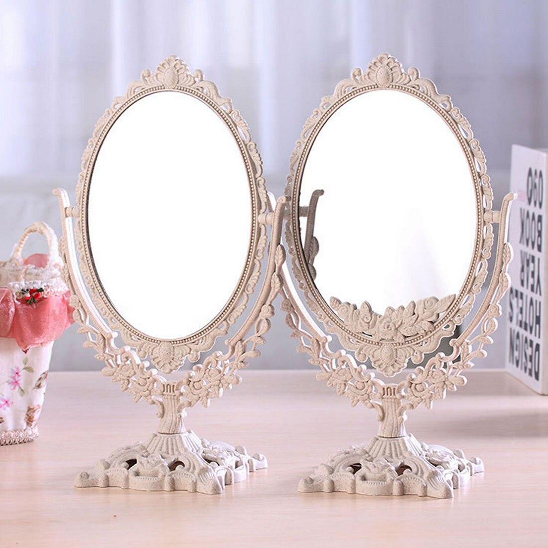 Girls Women Makeup Mirror Vintage Floral Oval Round Handhold Mirror Princess Elegant Makeup Beauty Tools European Retro Style
