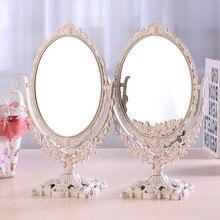 Espejo de maquillaje para niñas y mujeres Vintage Floral ovalado espejo de mano redondo princesa elegante maquillaje herramientas de belleza estilo europeo Retro
