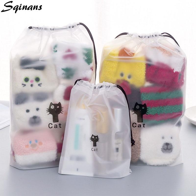 Black Cat Drawstring Storage Bag Luggage Organizer Shoe Bag Travel Portable Clothes Organizer Save Space Dust-proof Pouch