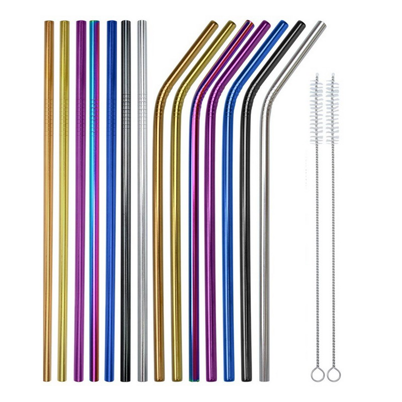 100pcs 267mm Stainless Steel Metal Drinking Reusable Rainbow Party Straws 10 cleaning brush Bar Accessories Party