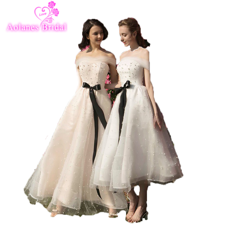 Pearls Bridesmaid Dress Prom Dress 2018 New Style Off The Shoulder Tea Length Floor Length Amazing Bridesmaid Gown For Wedding