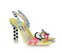 Silla Линейки Girl Talk Бисер Сандалии для девочек Женская летняя обувь конфеты Цвета Женские сандалии Бусины Высокие каблуки прохладно открытым