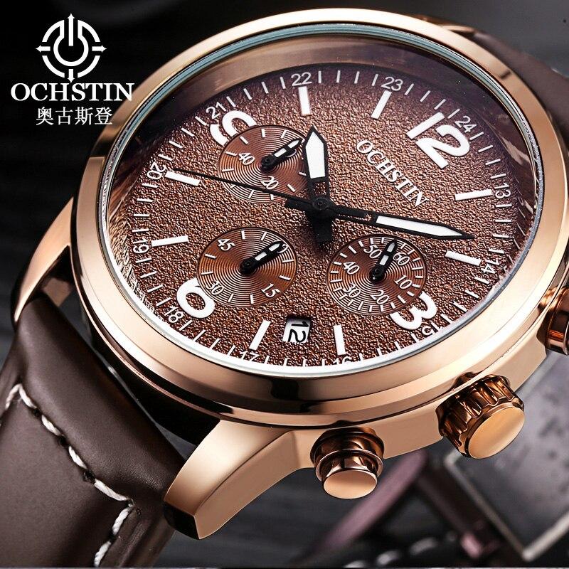 0d779ebbbb465 Montre OCHSTIN hommes de luxe marque en cuir Date chronographe Quartz  Montre bracelet militaire montres hommes Relogio Masculino Montre Homme  dans Montres ...