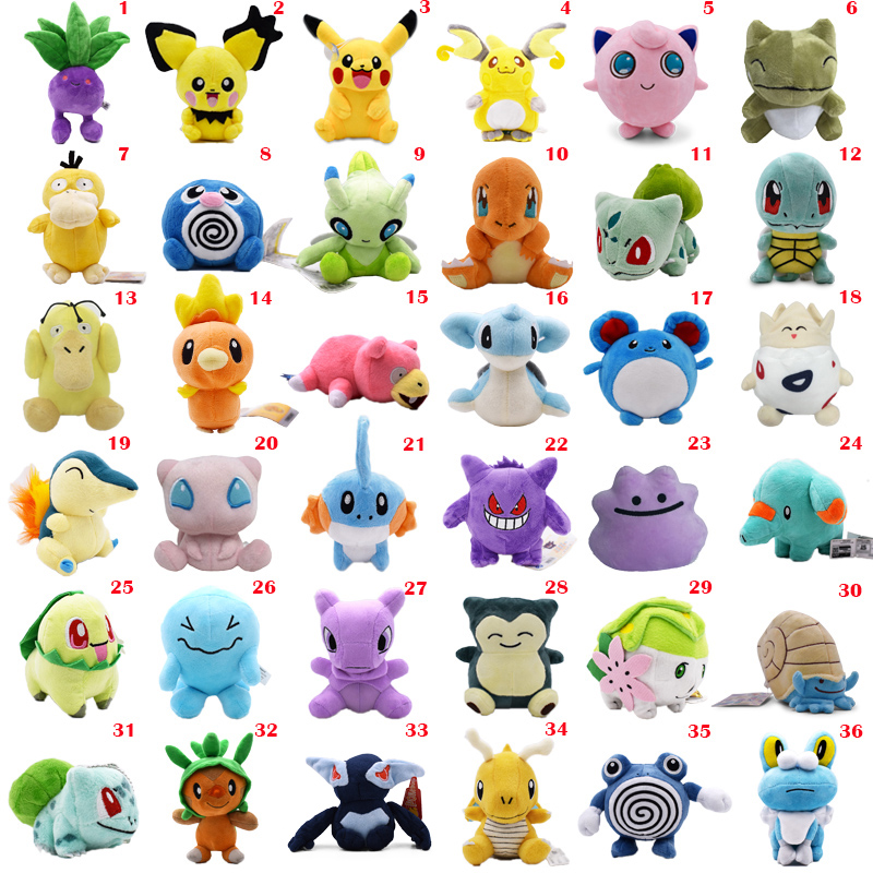 36 Styles Anime Doll Pikachu Poliwag Bulbasaur Charmander Lapras Snorlax Stuffed Peluche Plush Toy Christmas Gift For Children(China)