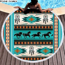 Bear Totem/Native Indian Bath Towel for Beach Thick Round 3d print Fabric Quick Compressed Towel new style-5 indian elephant print chiffon round beach throw