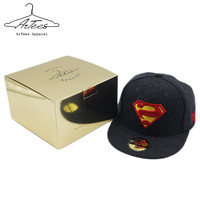 ArTees Series Superman 2017 Brand New Black Wool Fashion Baseball Cap Hip Hop Hat Cap Baseball