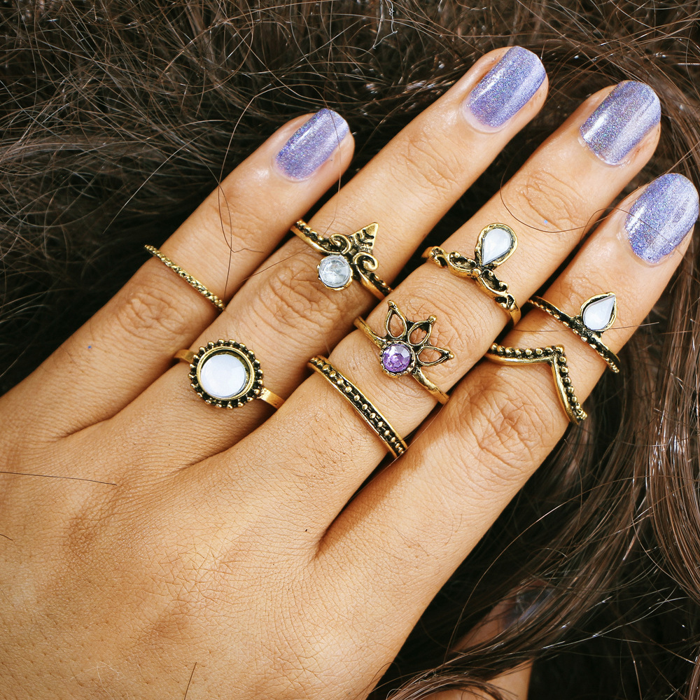80 pieces/set Antique Gold Silver Color Rhinestone Ring Set For Women Finger Midi Knuckle Rings Crystal Flower Hollow Jewelry