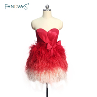 Real Made New Custom Made Feather Prom Dress 2018 Burgundy Cocktail Party Dress Cute Short Prom Party Gown Vestido de Fiesta NC1