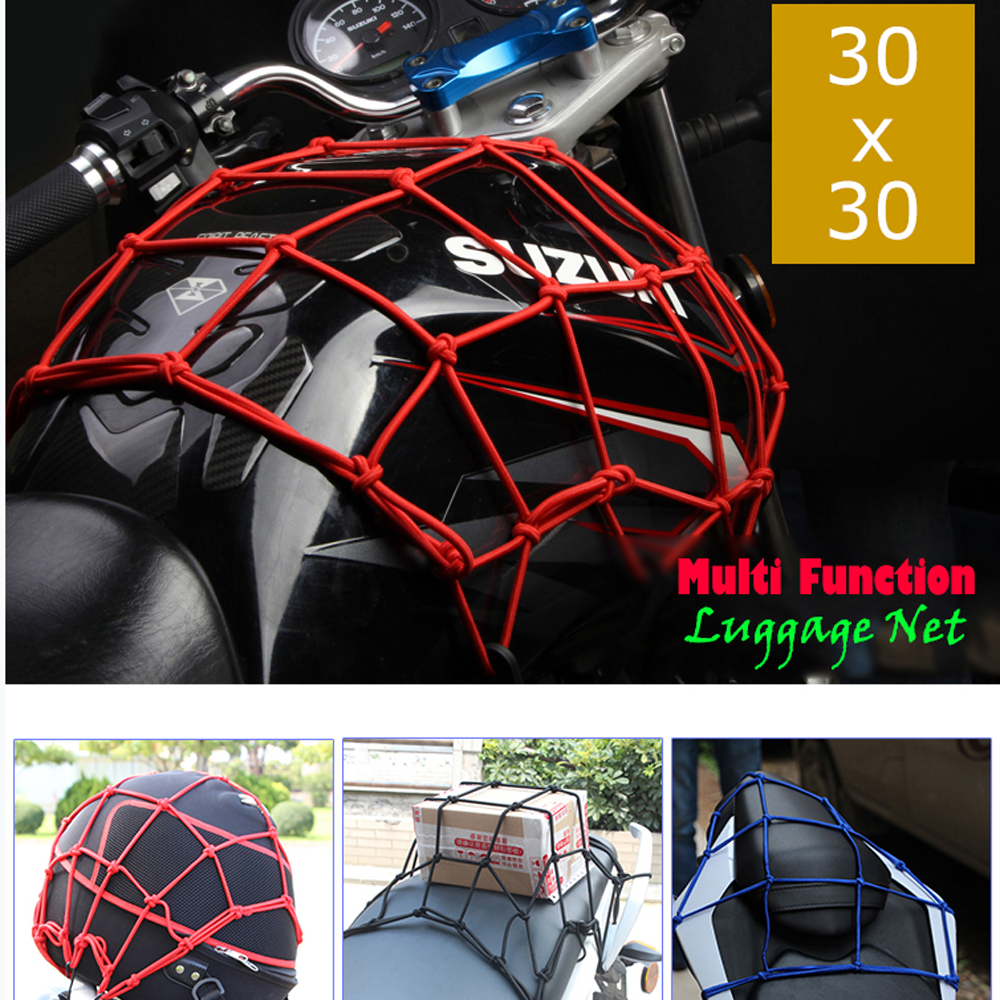 30*30CM Heavy-Duty Elastic Bungee Luggage Cargo Net Mesh Holder 6 Adjustable Hooks for Motorcycle Tank Helmet ATV Bike