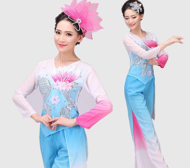 Nuevas Mujeres de la Nación China Traje Fenmale Grupo Tambor Yangko Danza Traje Top + Pants + Headwear Dancer Wear 18