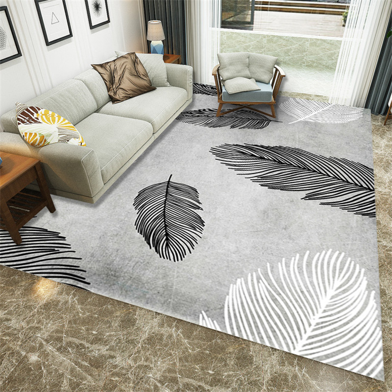 3D Luxury Feather Printed Livingroom Carpets Modern Coffee Table Area Rugs Bedroom Carpets For Living Room Footpad Carpet Decor