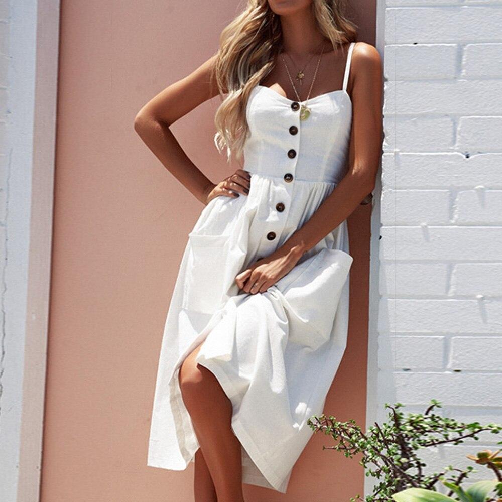 New 2018 Summer Women Casual Spaghetti straps printed Dress Beach Sundress