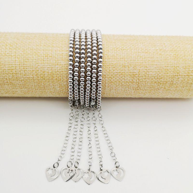 4mm edelstahl perlen armband frauen mode Silber farbe herz charme 18 cm Strang armband mit verlängerung kette BLKN0786