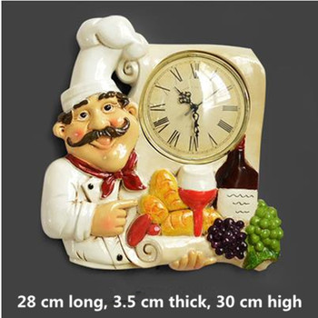 American chef wall hanging clock, creative home living room kitchen dining room wall decoration, silent wall clock, wall decorat