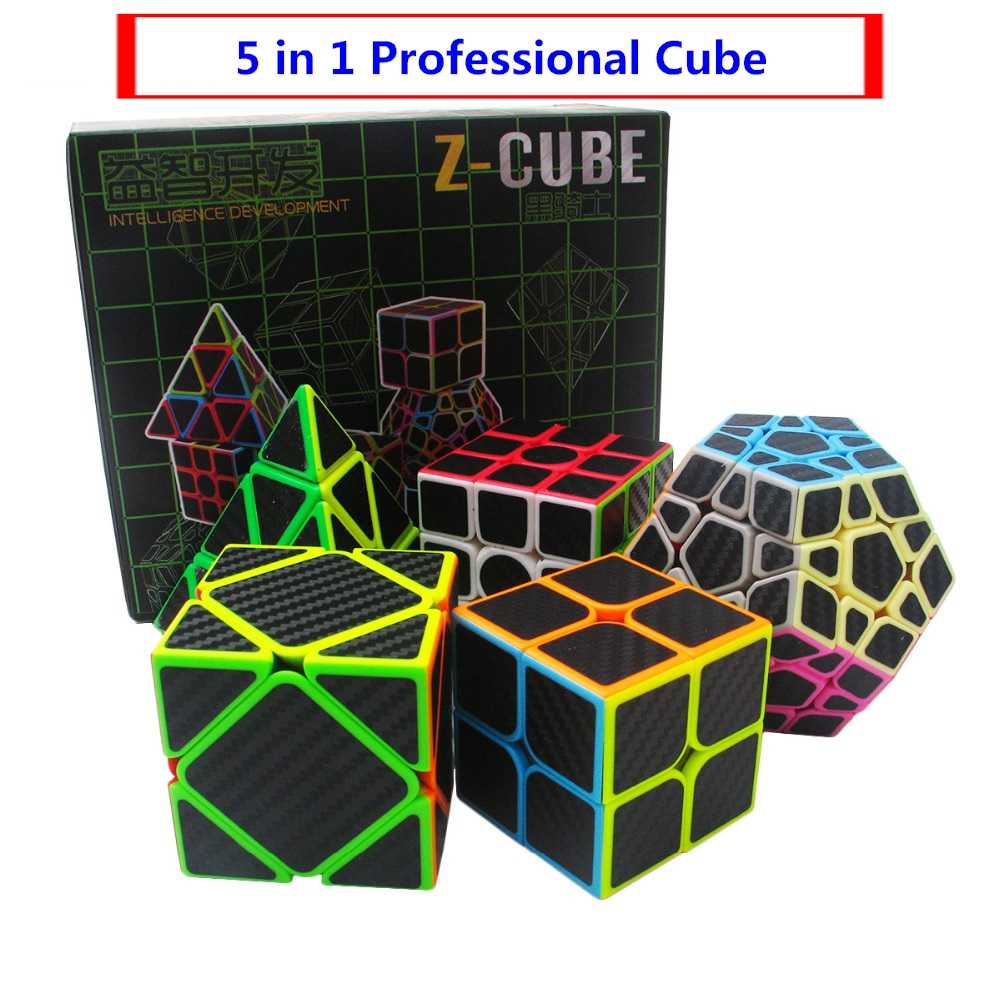 New Dodecahedron & Axis Cube & 2x2x2 Cube & 3x3x3 Cube Set 5pcs/box Carbon Fiber Speed Puzzle Magic Cube Toy Gift