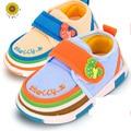 Adorável Suave Inferior Lace-Up Shallow Primeiro Walkers Algodão Sólida Primavera/Outono Sapatos de Tecido de Algodão Para Bebês Bebê Sapatos Walker