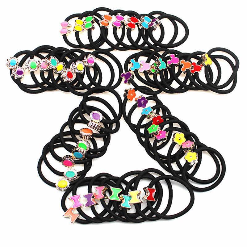 20Pcs Einfache Schwarz Stirnband Blume Herz Bogen Haar Zubehör für Frauen Mädchen Elastische Haar Bands Pferdeschwanz Halter Gummi Band gum