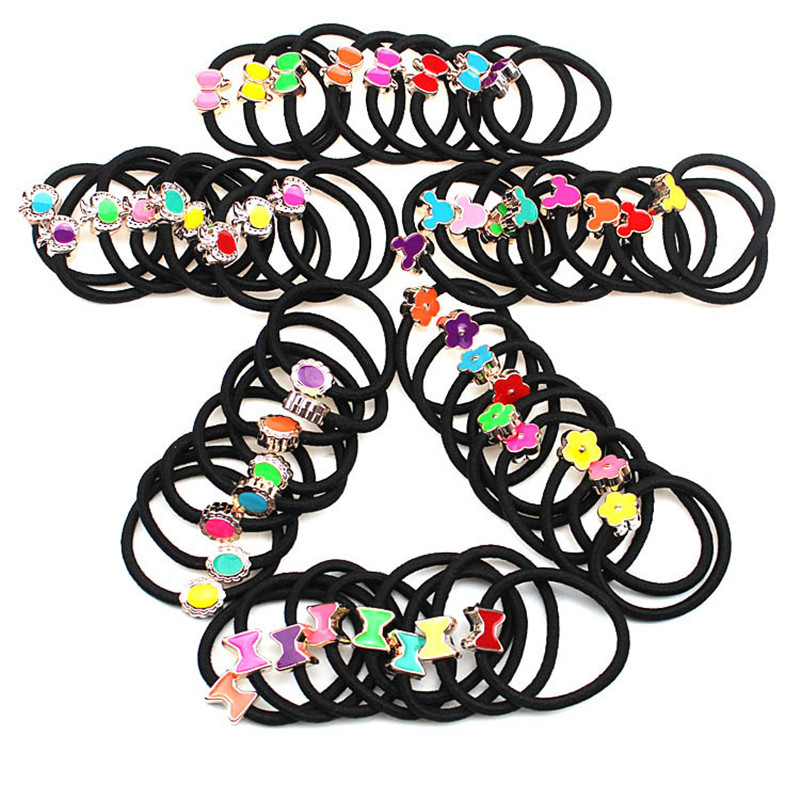 20Pcs Simple Black Headband Flower Heart Bow Hair Accessories for Women Girl Elastic Hair Bands Ponytail Holder Rubber Band Gum