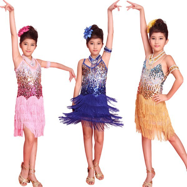 New Kids Tasseled Ballroom Latin Salsa Dancewear Fringe Skirts Girls Party Dance Costume Dress 6-12Y
