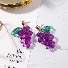 цена на 2019 Luxury Sweet Cute Green Leaf Purple Beads Grape Austrian Crystal Fruit Drop Wedding Earrings For Women Brides Party Jewelry