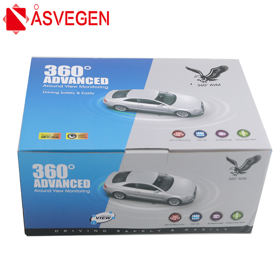 Asvegen Newest Car Area View System 360 Degree Driving 3D HD Surround View Monitoring Assistant System Cameras 4 CH DVR Recorder