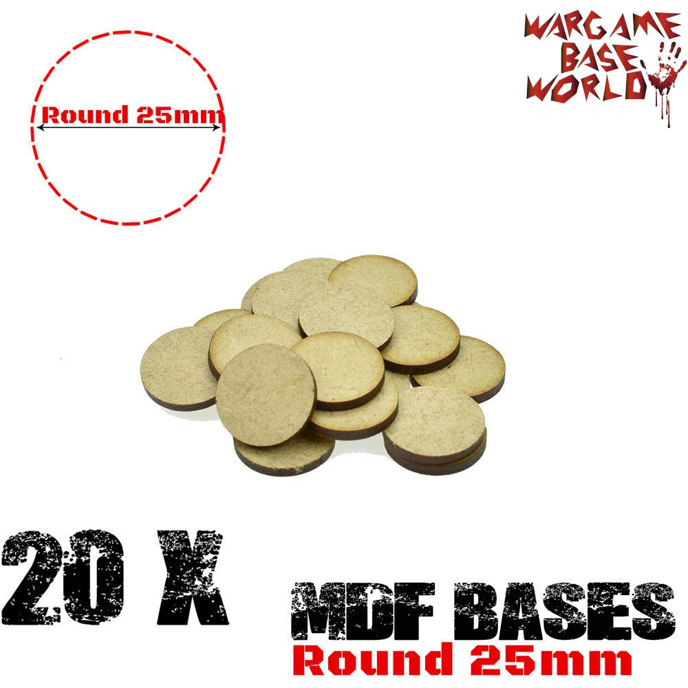 20x MDF Bases - 25mm Round Bases- Basing Laser Cut Wargames Wood