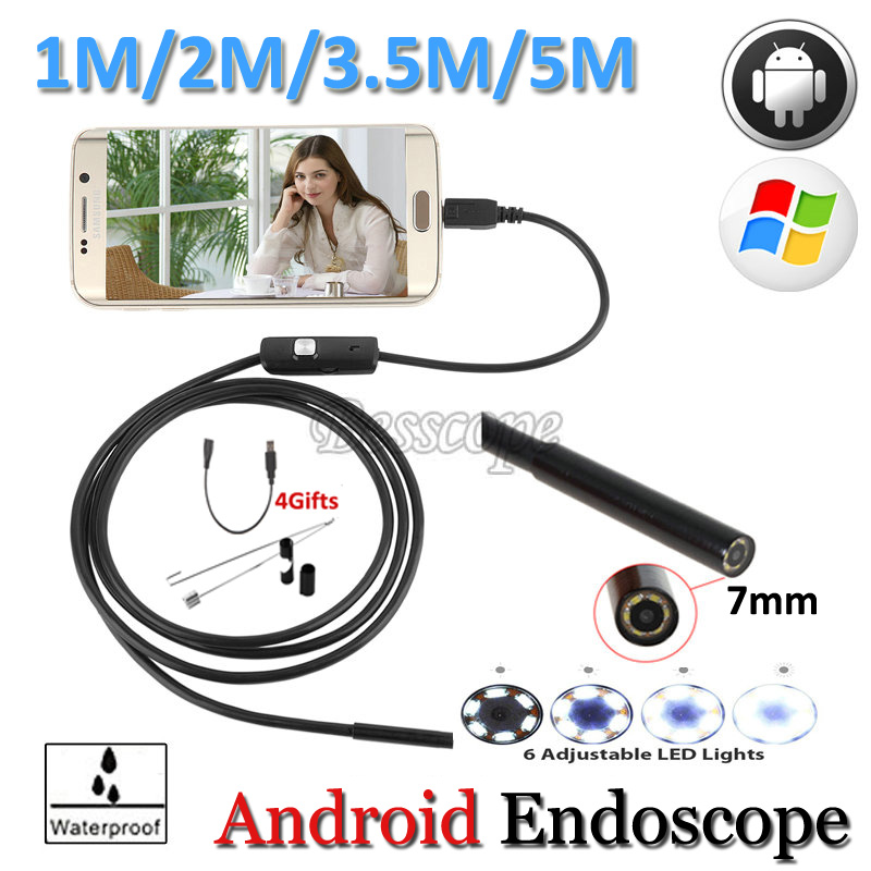 7mm Lens Android USB Endoscope Camera Flexible Snake USB Pipe Inspection Android USB Borescope Android Camera 5M 3.5M 2M 1.5M 1M 7mm lens 2m 5m usb endoscope camera snake tube pipe waterproof usb endoskop car inspection borescope endoscope camera android