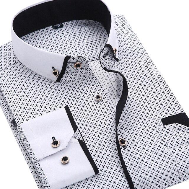 2016 Моды для Мужчин Случайный С Длинными Рукавами Печатных рубашку Slim Fit Мужской Социальный Бизнес Платье Рубашка Бренд Мужской Одежды Мягкие Удобные