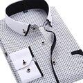 2016 Homens Moda Casual camisa de Manga Comprida Impressa Slim Fit Negócios Vestido de Camisa Social Masculina Marca de Roupa Dos Homens Macio E Confortável