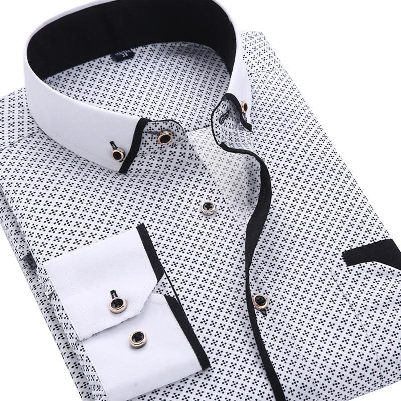 2016 Men Fashion Casual Long Sleeved Printed shirt Slim Fit Male Social Business Dress Shirt Brand Men Clothing Soft Comfortable