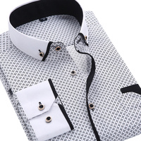 2015 Men S Fashion Casual Long Sleeved Printed Shirt Slim Fit Male Business Dress Shirt Camisas
