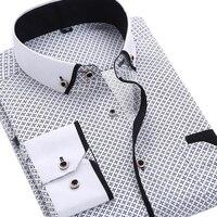 2015 Men S Fashion Casual Long Sleeved Printed Shirt Slim Fit Male Business Dress Shirt Camisas