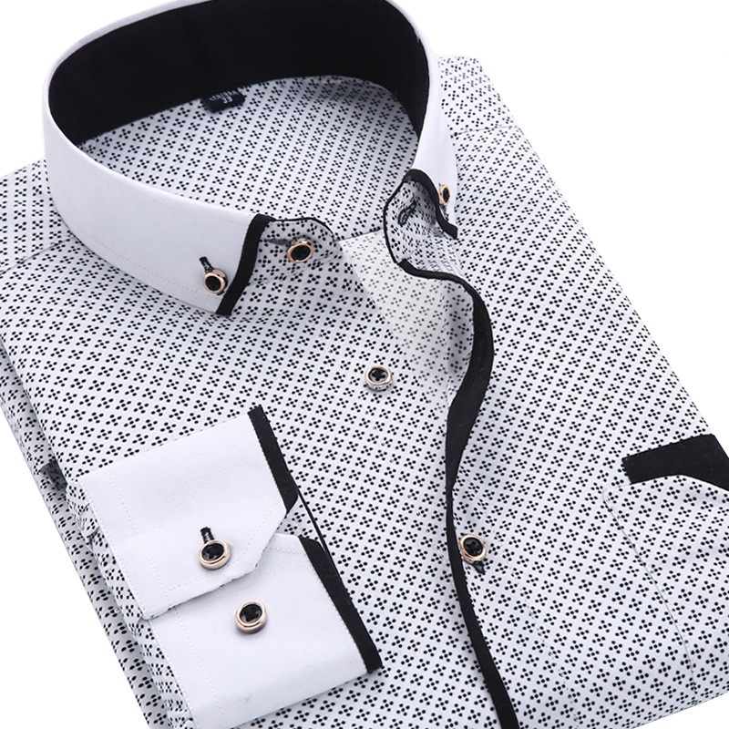 2018 Men Fashion Casual Long Sleeved Printed shirt Slim Fit Male Social Business Dress Shirt Brand Men Clothing Soft Comfortable