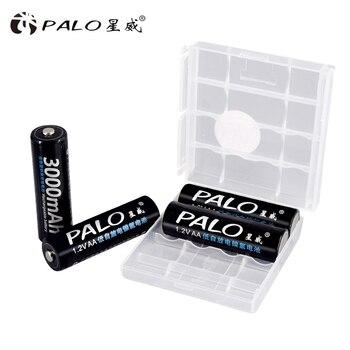 PALO 4 шт. AA заряжаемые аккумуляторы 1,2 в AA 3000 мАч Ni-MH предварительно Заряженная аккумуляторная батарея 2A батареи для игрушек камеры >> GuangQin Battery Store