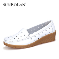 SUNROLAN Plus Size Women Shoes Cow Split Cut Out Flat Black White Nurse Shoes Woman Breathable
