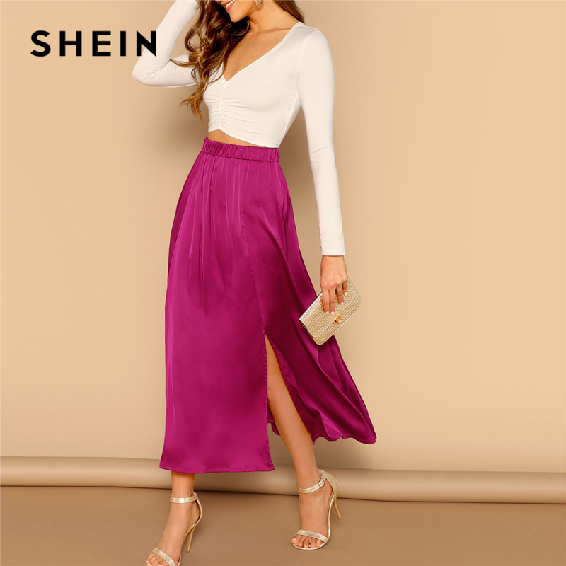 SHEIN Hot Pink Split Hem Empire Elastic Waist A-line Solid Satin Maxi Skirt Women 2019 Spring Elegant Long Shift Party Skirts