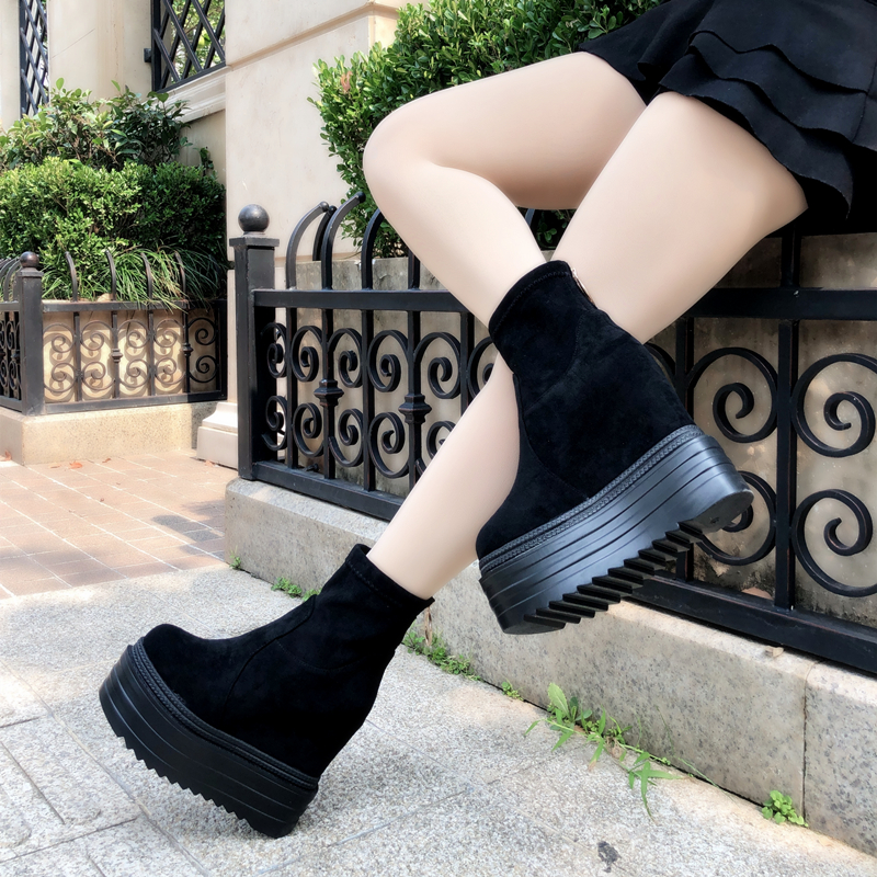 2018 new women s boots fashion increased 13 cm thick bottom boots waterproof platform high heeled
