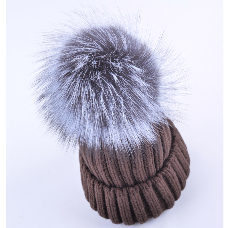 Good quality winter hats for women beanies real fox fur hairball cap thick knitted wool gorro warm Casual noble cap touca bonnet 2017 classic russian women super good quality wool beanies hats with real fur ball knit caps solid skullies casual cap