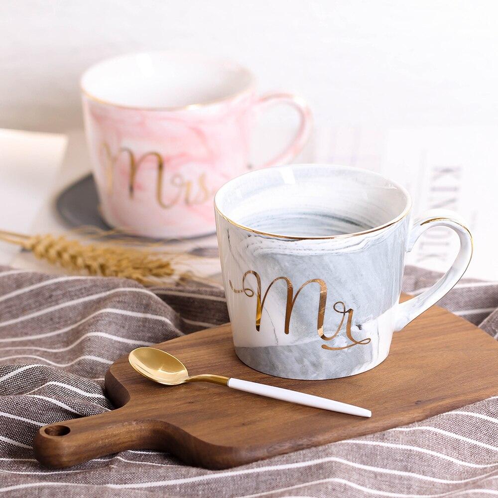 2 piezas a mano oro monograma mármol Natural porcelana taza de café el Sr. y la Sra. té leche tazas y tazas regalo creativo venta al por mayor