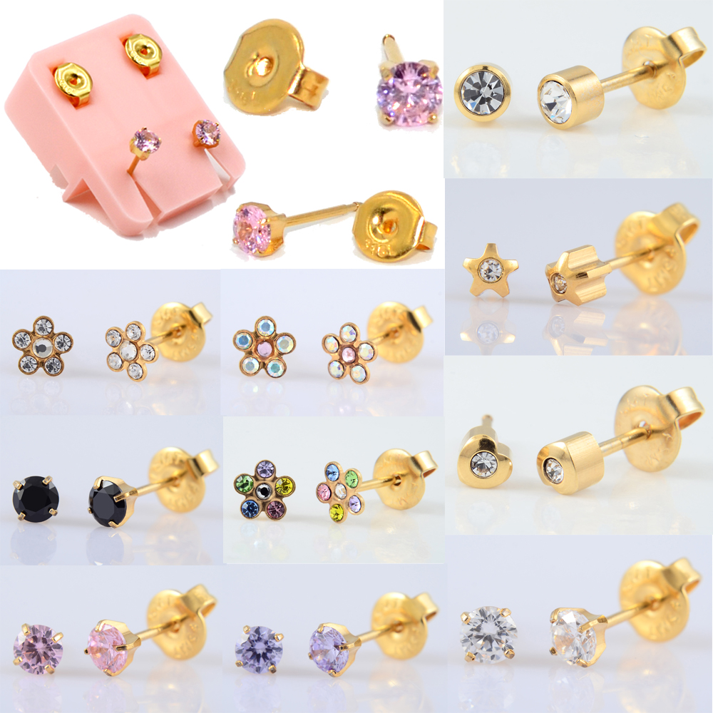 Pair More Charming Dolphin Mishu 24K Gold Plating316L Surgical Steel Ear Stud Disposable EO Sterile Piercing Earring Jewelry 20g