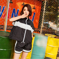 2017 New Fashion Casual Sports Suit Sets Female Summer Large Size Loose Sets 2 Pieces Lady